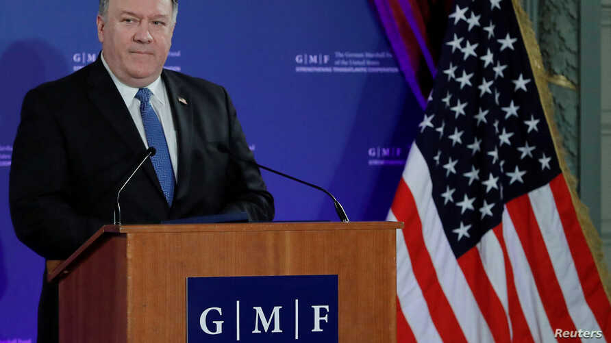 """U.S. Secretary of State Mike Pompeo speaks at a conference of the German Marshall Fund of the United States on """"Reforming the Rules-Based International Order"""", in Brussels, Belgium, Dec. 4, 2018."""