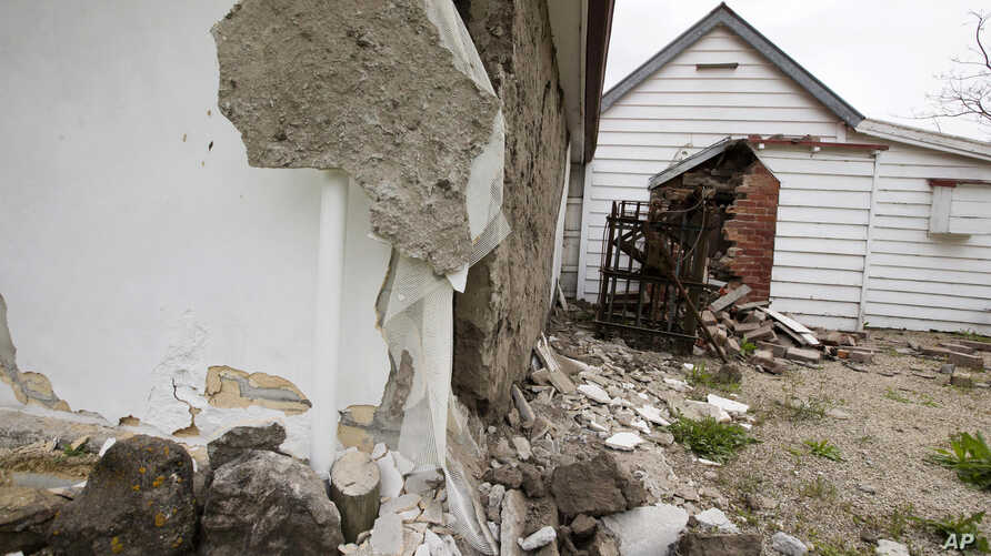 The walls of a historic church are damaged in Waiau after a earthquake in Waiau, New Zealand, Nov. 14, 2016.