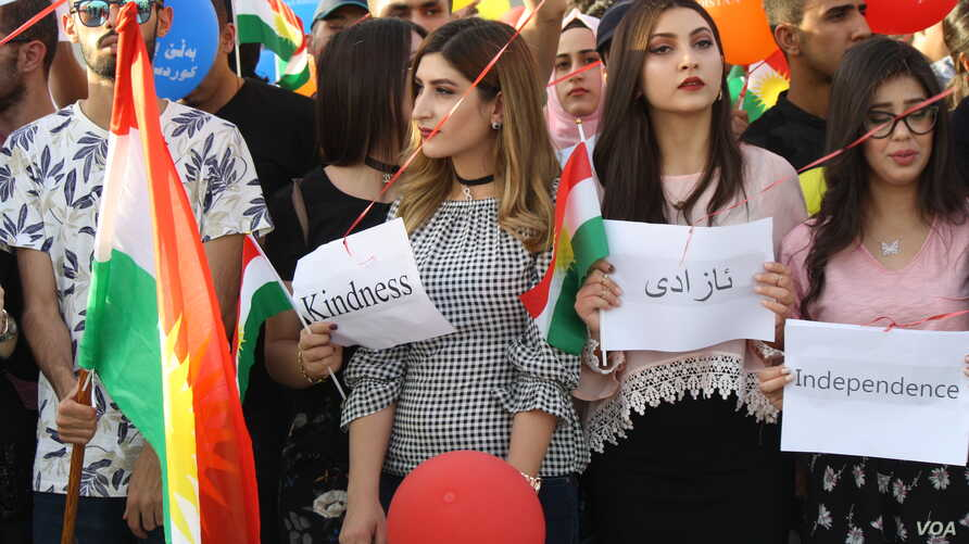 Some students say their dream of an independent state trumps fears that the independence vote could lead to crippling isolation in Irbil, Kurdistan Region of Iraq, Sept. 29, 2017.