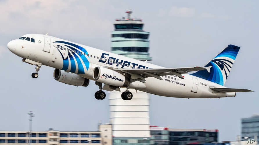 FILE - An EgyptAir Airbus A320 with the registration SU-GCC taking off from Vienna International Airport, Austria,August 21, 2015.