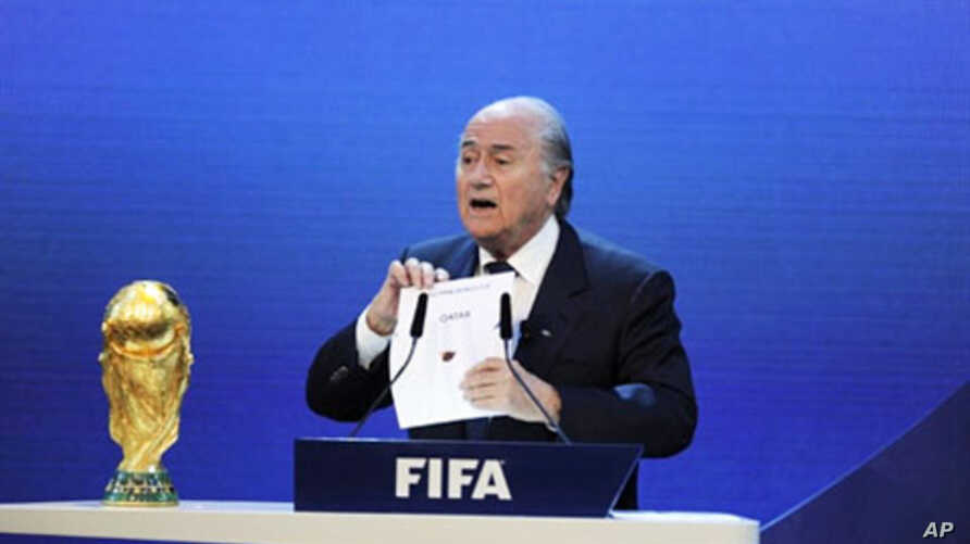 FIFA President Sepp Blatter announces the World Cup host countries for 2018 and 2022 at the federation's headquarters in Zurich, 02 Dec 2010