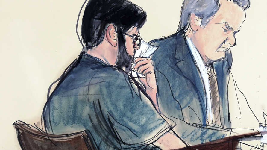 """In this courtroom sketch, former pharmaceutical CEO Martin Shkreli, left, is seated next to his lawyer Ben Brafman in federal court, March 9, 2018, in New York. """"Pharma Bro,"""" vilified for jacking up the price of a lifesaving drug, was sentenced to se"""