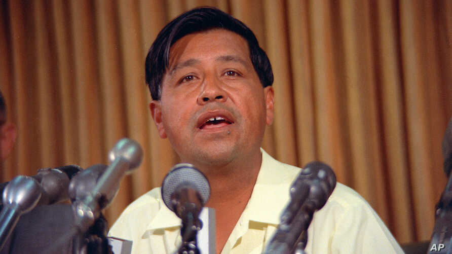 FILE - United Farm Workers labor leader Cesar Chavez speaks during a news conference, May 24, 1968. The location is not known.