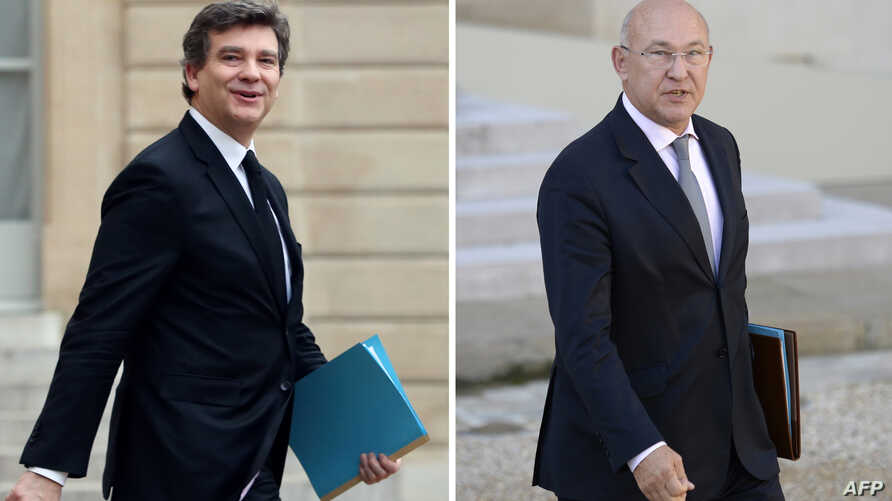 A combination of files pictures made on April 2, 2014 of French minister for Industrial Renewal Arnaud Montebourg in Paris and French Labour, Employment and Social Dialogue Michel Sapin.