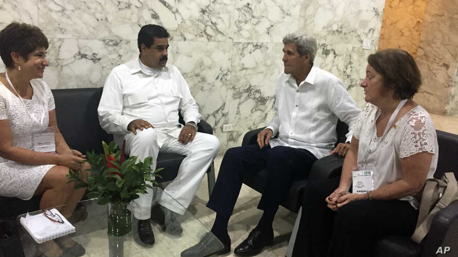 U.S. Secretary of State John Kerry meets with Venezuela president Nicolas Maduro in Cartagena, Colombia Monday, Sept. 26, 2016.