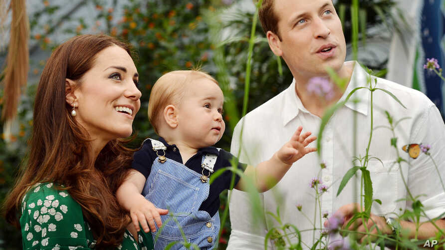 FILE - Britain's Prince William and Kate Duchess of Cambridge visit the Sensational Butterflies exhibition at the Natural History Museum, London, to mark Prince George's first birthday.