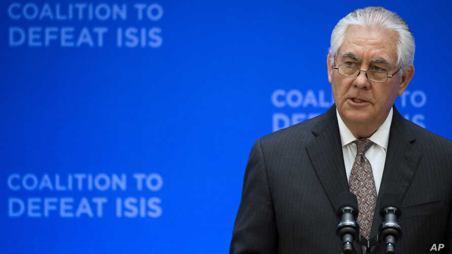 Secretary of State Rex Tillerson speaks at the Meeting of the Ministers of the Global Coalition on the Defeat of ISIS, March 22, 2017, at the State Department in Washington.