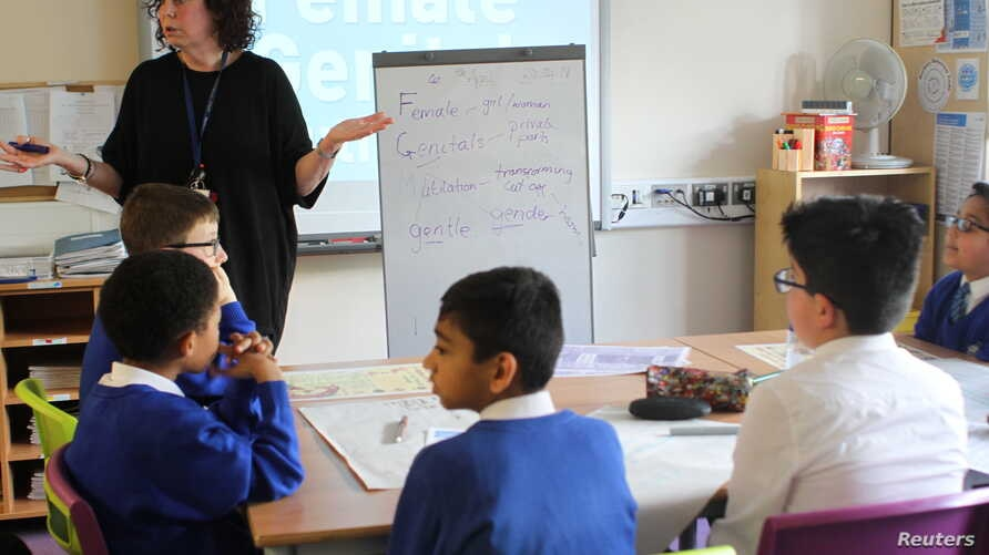 Primary school children learn about female genital mutilation at Norbury School, Harrow, in London, April 25, 2018.