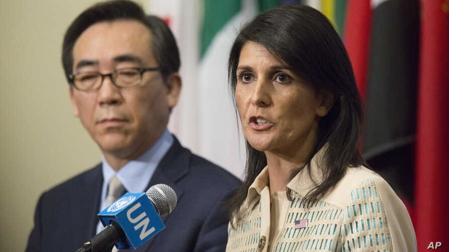U.S. Ambassador Nikki Haley, right, is joined by Korean Ambassador Tae-yul Cho as she speak to reporters before a Security Council meeting on the situation in North Korea, May 16, 2017.