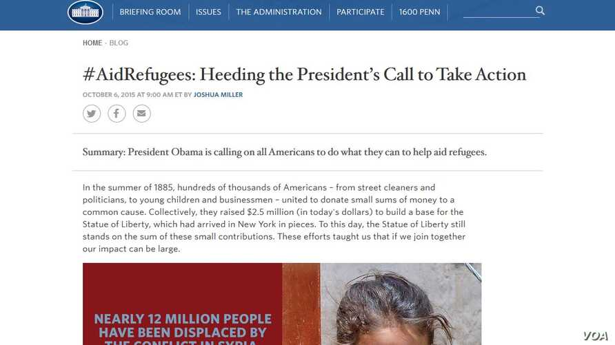 """Using the hashtag #AidRefugees, the White House calls the campaign """"hashtag diplomacy."""""""