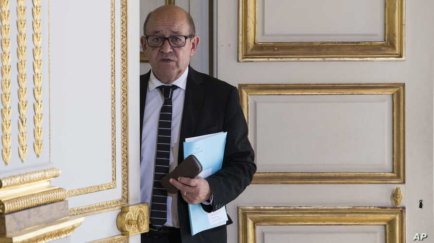 French Foreign Minister Jean Yves Le Drian is seen at the Elysee Palace in Paris, France, June 3, 2017.