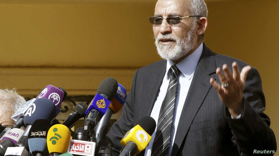 The supreme guide of Egypt's Muslim Brotherhood Mohamed Badie speaks during a news conference at the Brotherhood's main office in Cairo, Dec. 8, 2012.