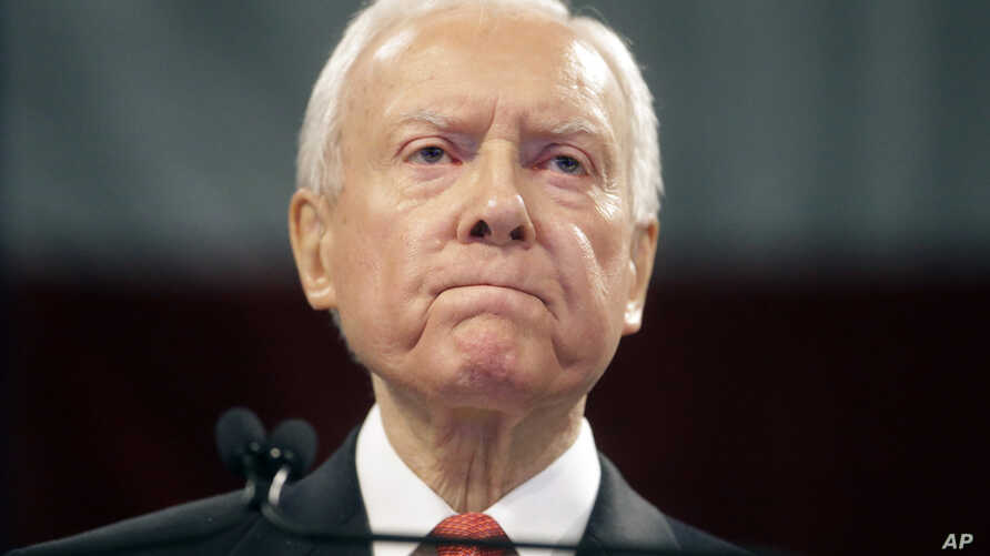 """FILE - Sen. Orrin Hatch, R-Utah, speaks during the Utah Republican Party 2016 convention, in Salt Lake City, April 23, 2016. """"It's going to be extremely contentious,"""" Hatch told VOA. """"Anytime you get into an immigration battle, it's difficult no matt..."""