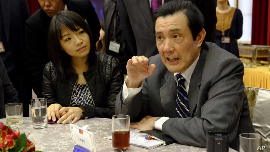 Taiwan's President Ma Ying-jeou discusses the bitter South China Sea island dispute between China and Japan at a Presidential Office press briefing in Taipei, Taiwan, Jan. 31, 2013.