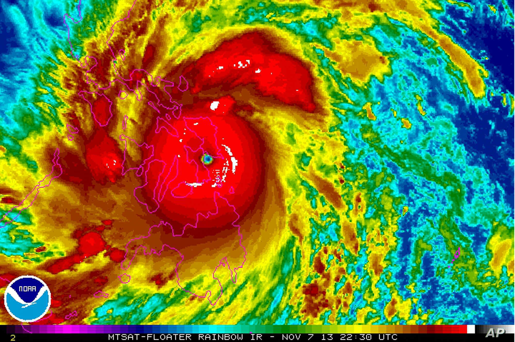 Satellite image provided by the National Oceanic and Atmospheric Administration shows Typhoon Haiyan over the Philippines, at 22:30 UTC , Nov. 7, 2013