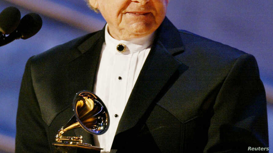 "Ralph Stanley accepts the Grammy Award for Best Male Country Vocal Performance for his song ""O Death,"" from the album and soundtrack from the film 'O Brother, Where Art Thou?"" during the pre-telecast show at the 44th Annual Grammy Awards in Los Angel"