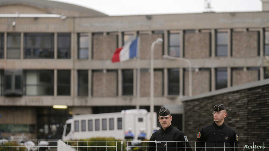 French gendarme stand in front of the entrance of the Fleury-Merogis prison near Paris, France, Apr. 27, 2016. The prison is home to Salah Abdeslam, the sole surviving suspect in last November's Paris terror attacks, who is held there in isolated c...
