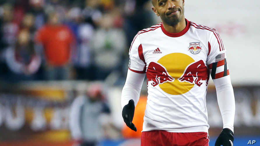 FILE - New York Red Bulls forward Thierry Henry gestures during the second half of the second soccer game of the MLS Eastern Conference final in Foxborough, Mass.