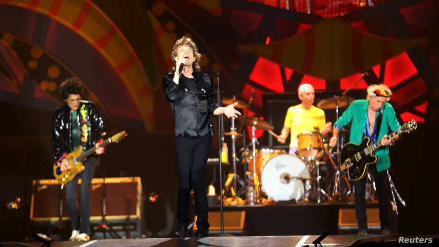 "British veteran rockers The Rolling Stones' singer Mick Jagger sings during a concert on their ""Latin America Ole Tour"" at Morumbi stadium in Sao Paulo, Brazil, Feb. 27, 2016."