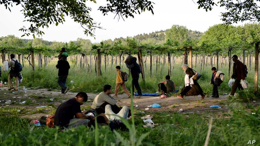 Afghan migrants rest in the open as others pass by after crossing illegally into Macedonia from Greece, near the town of Gevgelija, Macedonia, May 6, 2015.