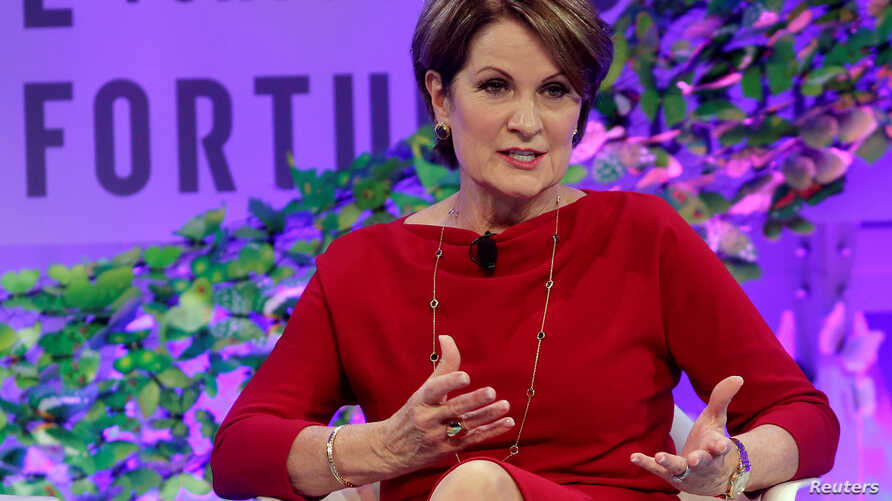 Marillyn Hewson, chairman, president and CEO of Lockheed Martin, speaks at the 2017 Fortune magazine's Most Powerful Women summit in Washington, Oct. 9, 2017.