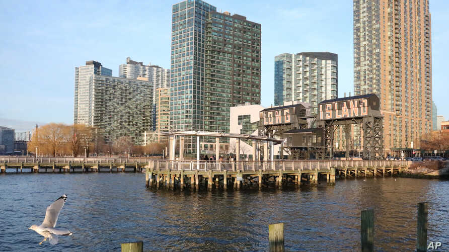 FILE - Long Island City, Queens, N.Y., along the East River is seen Feb. 14, 2019. The area was the proposed site for a new Amazon headquarters until the company announced it would abandon the project.
