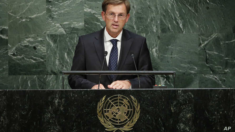 Slovenian Prime Minister Miro Cerar addresses the 2015 Sustainable Development Summit, Sept. 25, 2015, at the United Nations headquarters.
