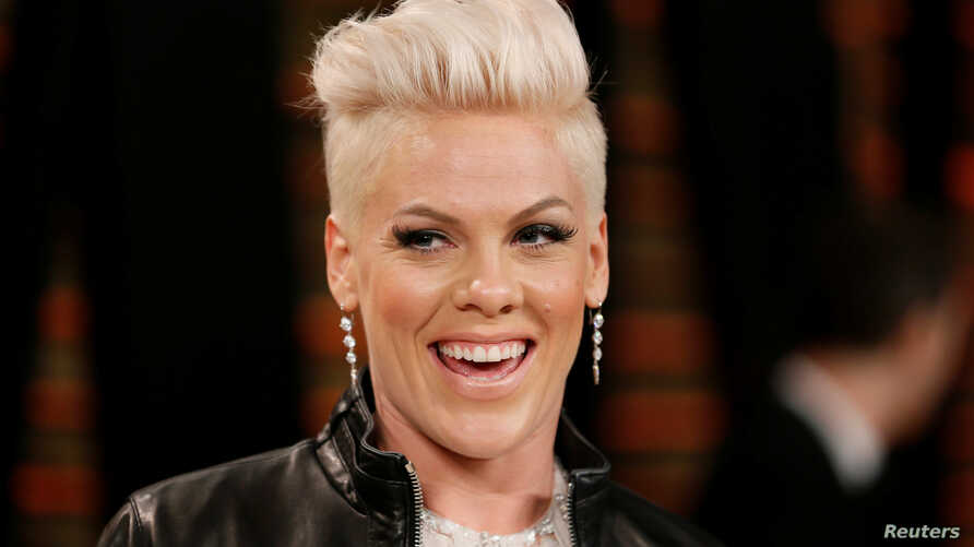 FILE - Singer Pink arrives at the 2014 Vanity Fair Oscars Party in West Hollywood, Calif., March 2, 2014.