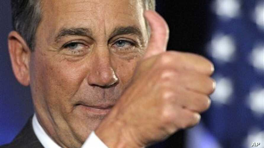 House Republican leader John Boehner of Ohio celebrates the GOP's victory that changes balance of power in Congress and will likely elevate him to speaker of the House, during election night gathering hosted by National Republican Congressional Commi