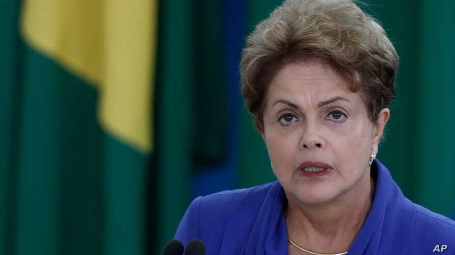 Brazil's President Dilma Rousseff, speaks during ceremony to introduce an anti-corruption package to Congress in the wake of mass protests calling for an end to graft and her impeachment, at the Planalto Presidential Palace in Brasilia, March 18, 201