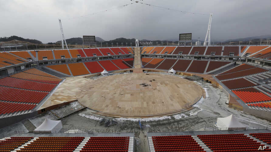 The Pyeongchang Olympic Stadium is under construction in Pyeongchang, South Korea, Nov. 25, 2017.