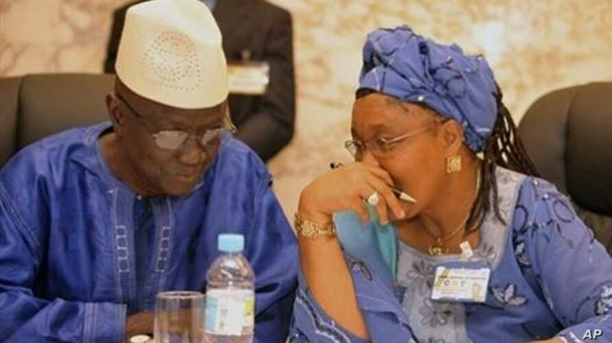 President of the electoral committee of Guinea Ben Sekou Sylla (L) speaks with president of the national transition council Rabiatou Sera Diallo during a meeting of political party leaders on the eve of presidential elections in Conakry (File Photo -