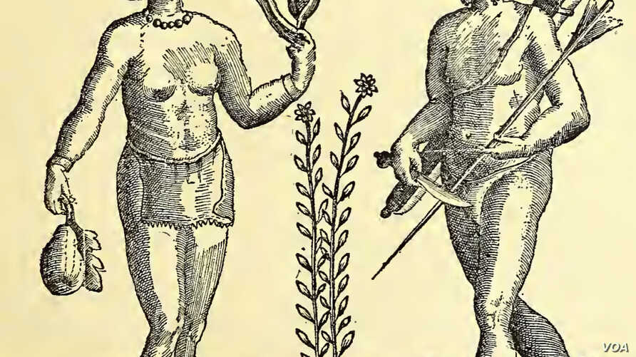 1612 engraving of depicting the Almouchicois Indians—the French term for the Massachusett-speaking peoples of southern New England, after a 1605 drawing by the French explorer.