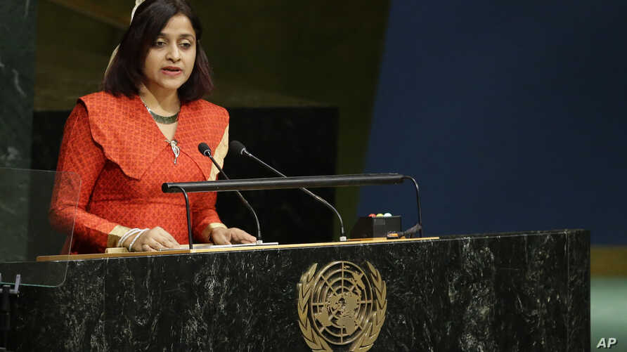 FILE - Maldives Foreign Minister Dunya Maumoon addresses the 70th session of the United Nations General Assembly at U.N. headquarters in New York, Oct. 3, 2015.
