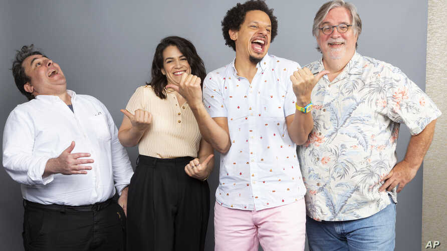 """Matt Groening, at right, and from left, Josh Weinstein, Abbi Jacobson and Eric Andre, cast members of the Netflix series """"Disenchantment,"""" pose for a photo during the Netflix portrait session at Television Critics Association Summer Press Tour at The"""
