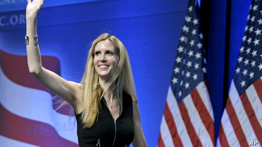 FILE - Ann Coulter waves to the audience after speaking at the Conservative Political Action Conference in Washington, Feb. 12, 2011.