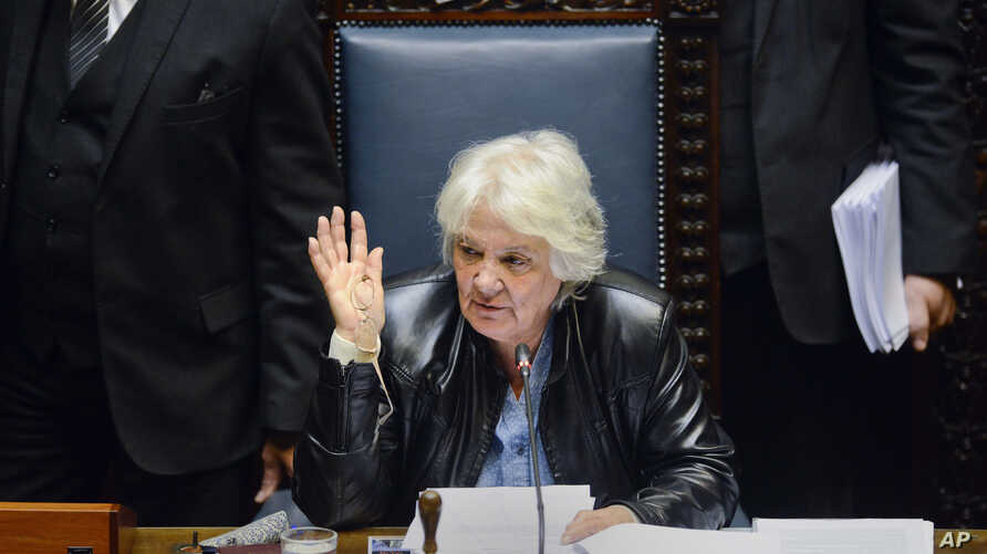 Uruguay's newly named Vice President Lucia Topolansky presides over a session in Senate chambers in Montevideo, Sept. 13, 2017.