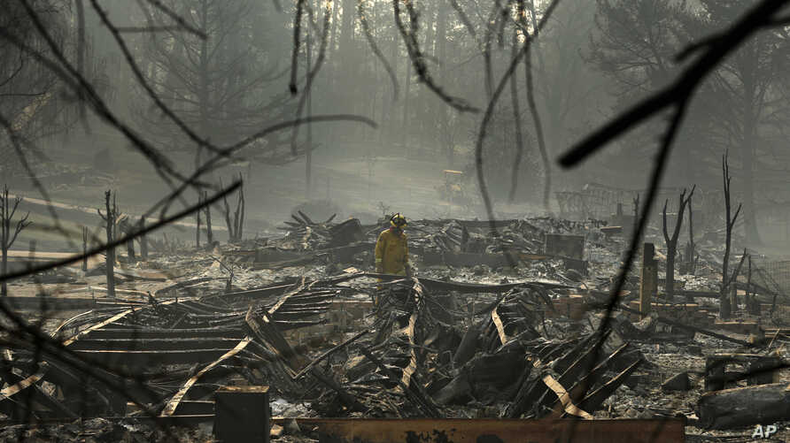 A firefighter searches for human remains in a trailer park destroyed in the Camp Fire, Friday, Nov. 16, 2018, in Paradise, California.