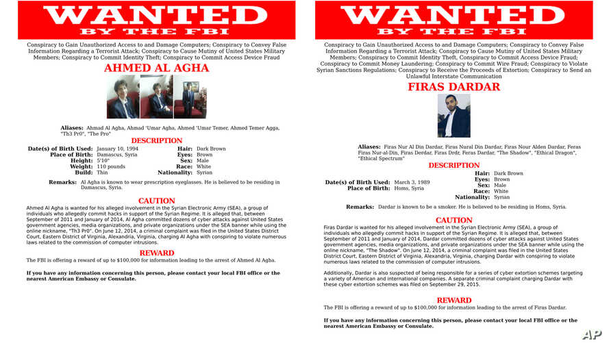 This two-picture combo of wanted posters provided by the FBI shows Ahmed al-Agha, left, and Firas Dardar. The Justice Department has indicted current or former members of the Syrian Electronic Army for computer hacking-related conspiracies.
