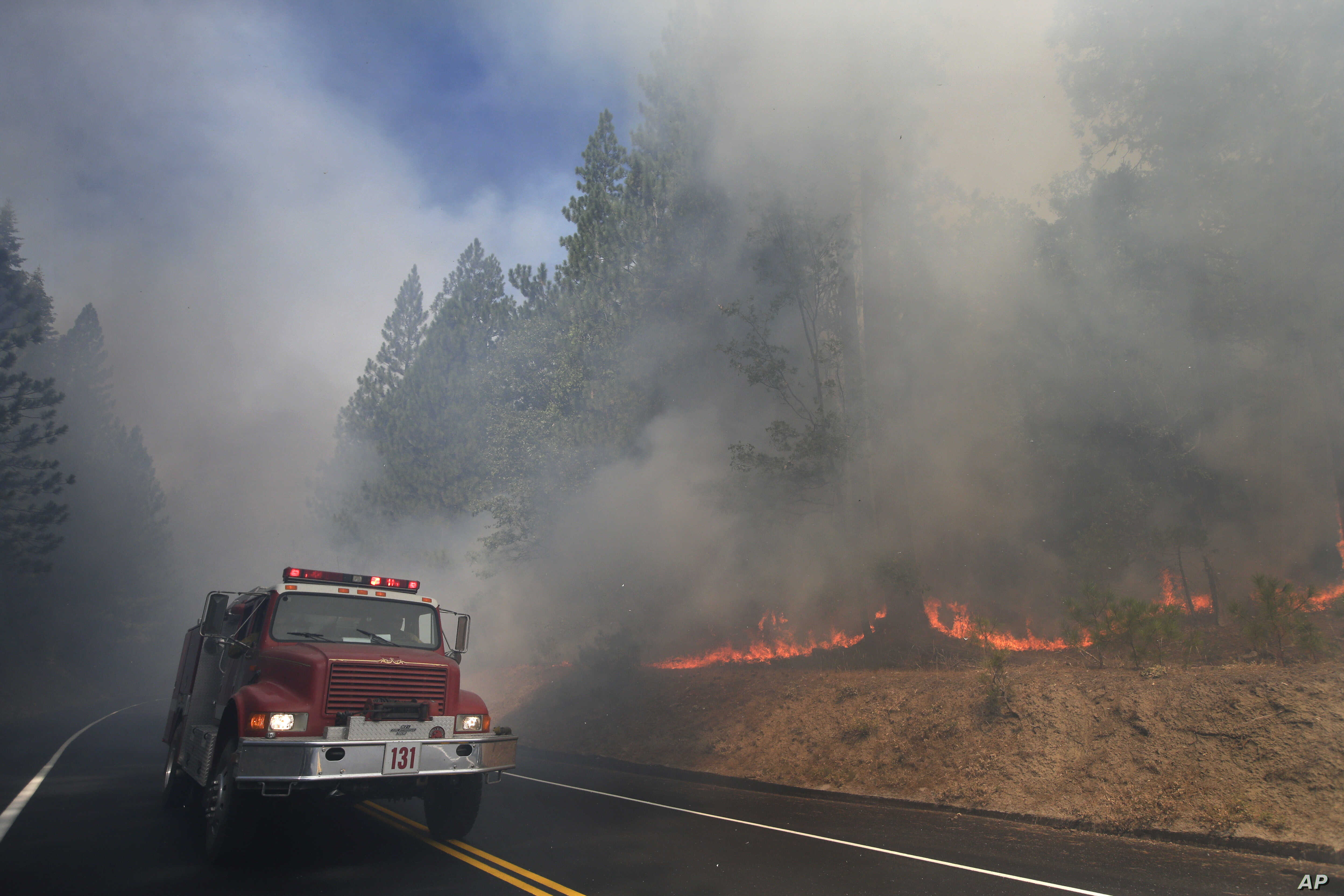 A fire truck drives past burning trees as firefighters continue to battle the Rim Fire near Yosemite National Park, Calif., Aug. 26, 2013.