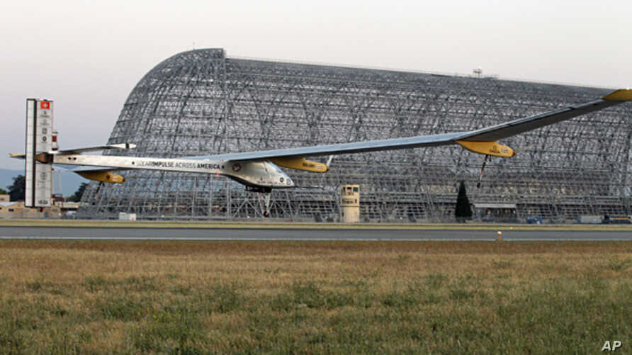 The Solar Impulse plane takes off on a multi-city trip across the United States from Moffett Field NASA Ames Research Center in Mountain View, California , May 3, 2013.