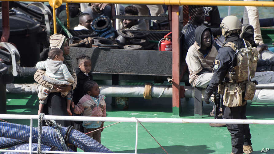 Armed forces stand onboard the Turkish oil tanker 'El Hiblu 1', which was hijacked by migrants, in Valletta, Malta, Thursday March 28, 2019.