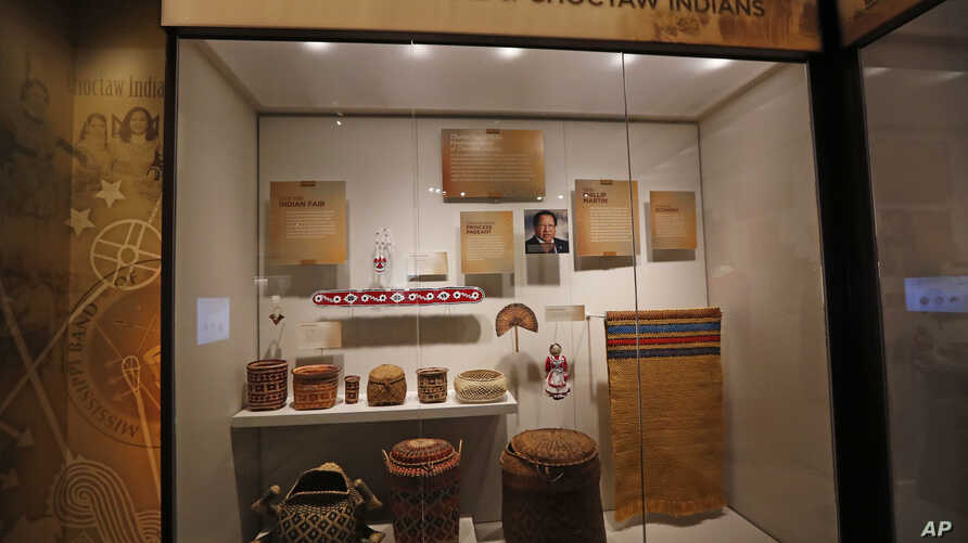 In this Nov. 7, 2017, photograph, a completed exhibit highlighting the Mississippi Band of Choctaw Indians is ready for viewing in the Museum of Mississippi History in Jackson, Miss.