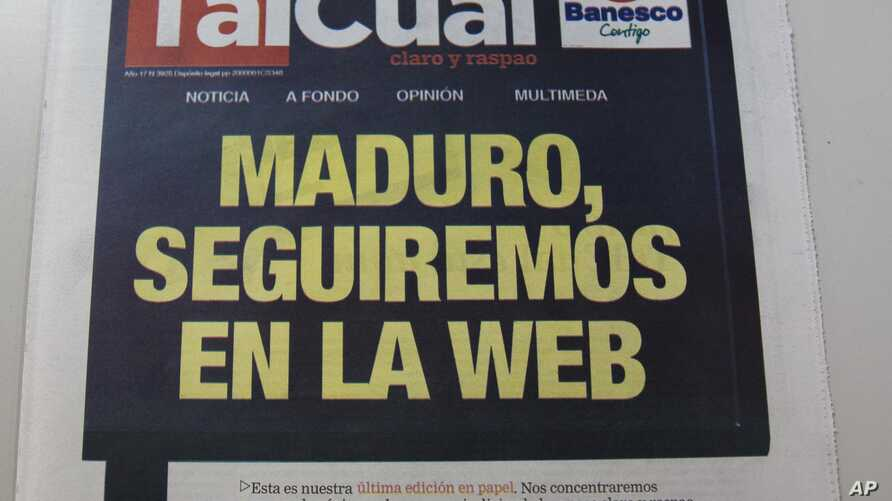"""A picture of the front-page of newspaper TalCual with the headline in Spanish reading """"Maduro, we will continue on the web,"""" is shown in Caracas, Venezuela, Thursday, Nov. 2, 2017."""