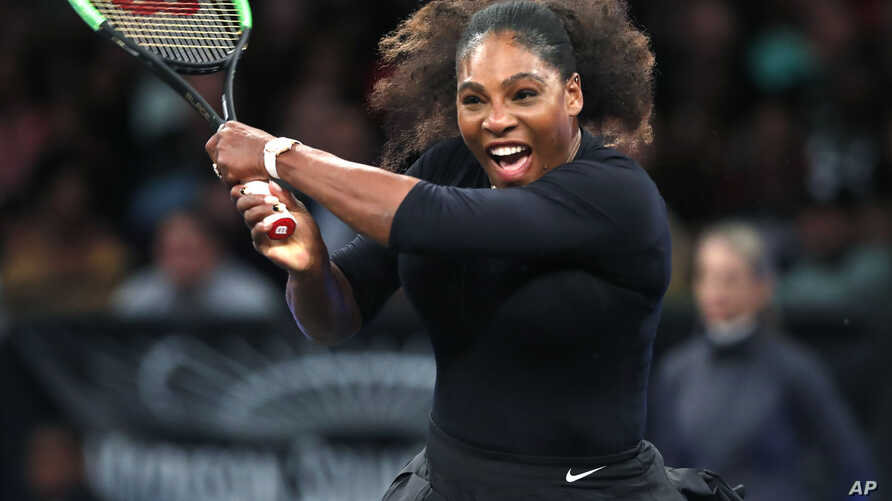 Serena Williams of the United States returns to Zhang Shuai of China during the semi-final round of the Tie Break Tens tournament at Madison Square Garden, Monday, March 5, 2018 in New York.