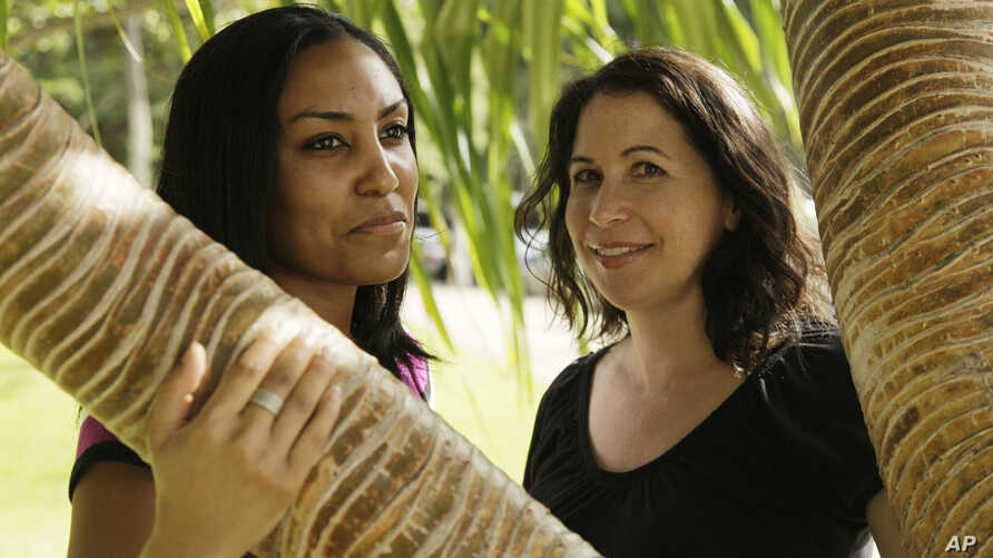 FILE - In this Dec. 19, 2011, photo, Taeko Bufford, left, and Diane Cervelli are pictured near Waikiki Beach in Honolulu. A Hawaii appeals court ruling that a bed and breakfast discriminated against a couple by denying a room to two women because the