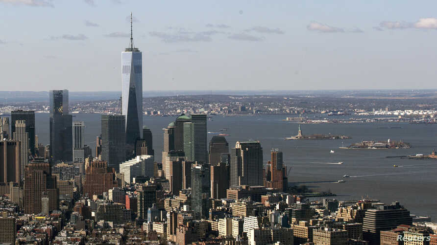 One World Trade Center towers over lower Manhattan in New York, April 16, 2014.