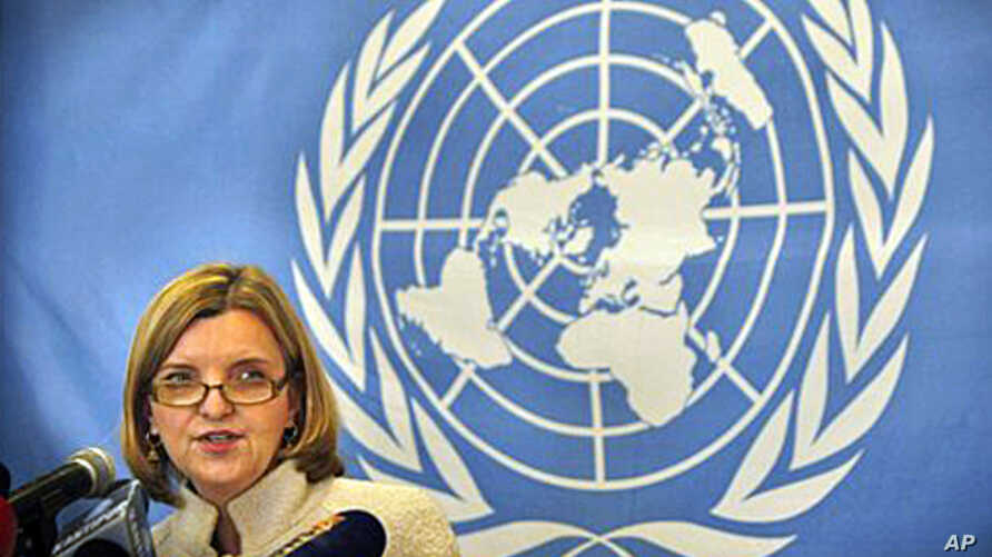 The chief of the UN's peace mission in Nepal, Karin Landgren addresses a press conference in Kathmandu, Nepal, 10 Jan 2011