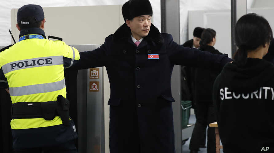 A North Korean delegation including 10 athletes of North Korean Olympic team, arrive at the Gangneung Olympic Village of the PyeongChang Winter Olympic Games 2018, in Gangneung, South Korea, Feb. 1, 2018.