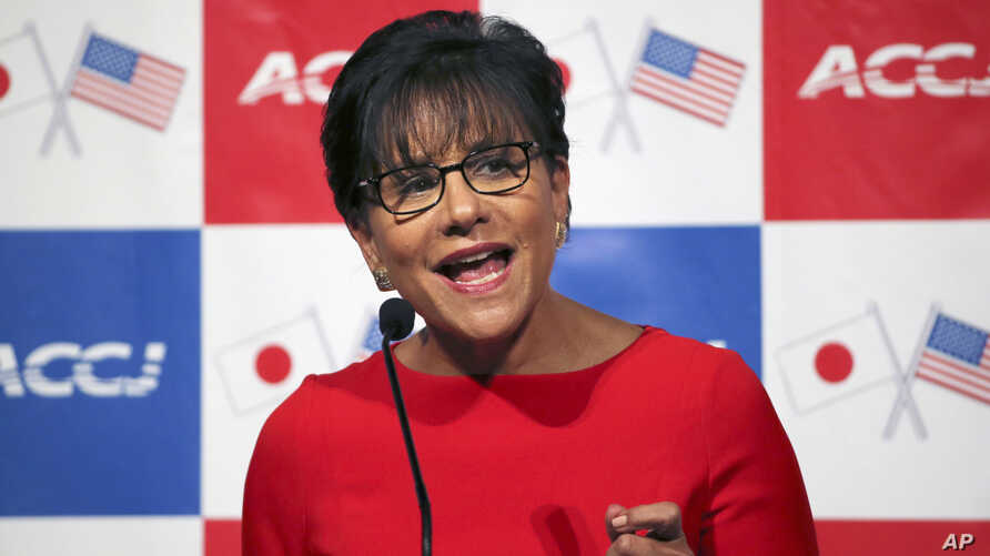 U.S. Commerce Secretary Penny Pritzker speaks to U.S. and Japanese executives at an American Chamber of Commerce luncheon in Toyko, Japan, Tuesday, Oct. 21, 2014.